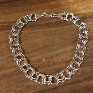 Jewelry - 10K Real White Gold Double Circle Link Bracelet